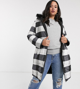 Simply Be reversible padded jacket in black and white check