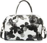 Charles Jourdan Pippa Floral-Print Leather Satchel, White/Black