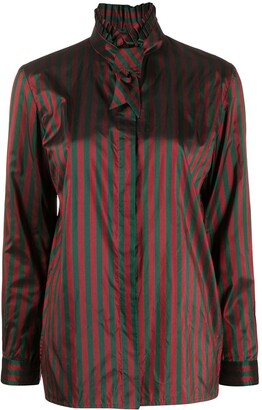 Gucci Pre Owned 1990s Striped Print Silk Shirt