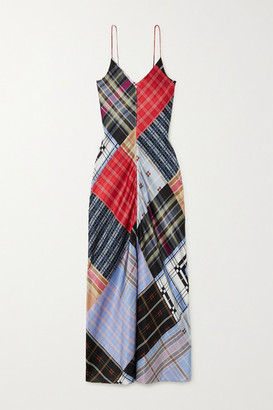 Ganni Patchwork Printed Silk-blend Satin Maxi Dress - Blue