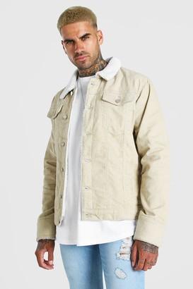 boohoo Mens Cream Cord Jacket With Borg Collar, Cream