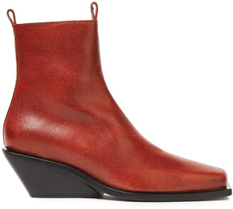 Ann Demeulemeester Brushed-leather Wedge Ankle Boots
