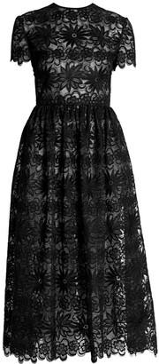 Valentino Floral Lace Organza Midi Dress