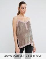Asos Sequin Cami Top with Sheer Insert