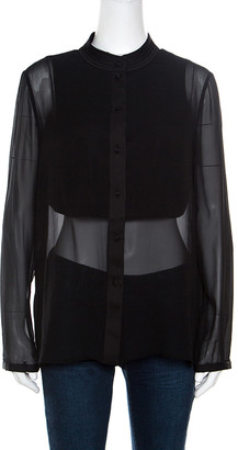 Armani Collezioni Black Silk Satin Trim Detail Long Sleeve Blouse M