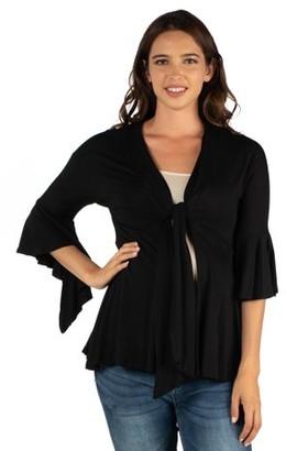 24/7 Comfort Apparel 24seven Comfort Apparel Ruffle Tie Front Lightweight Maternity Cardigan