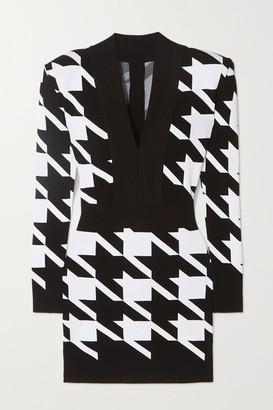 Balmain Houndstooth Stretch-knit Mini Dress - Black