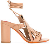 Santoni buckled fringed sandals - women - Calf Leather/Leather - 37