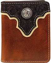 Ariat Men's Top Concho Overlay Bifold Black Brown Wallet