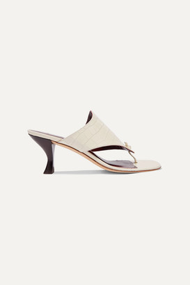 STAUD Keith Croc-effect Leather Mules - Cream