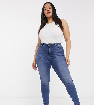 Vero Moda Curve skinny jeans with high waist in indigo