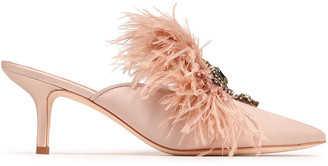 Tory Burch Embellished Feather-trimmed Satin Mules