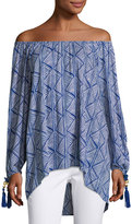 Neiman Marcus Off-the-Shoulder Graphic-Print Top, Blue/White