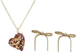 Betsey Johnson Resin Heart Earrings/Necklace Set (Leopard) Jewelry Sets