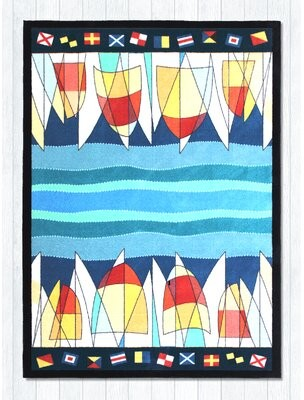 "Kendal Race Day Blue/Red Area Rug Breakwater Bay Rug Size: Rectangle 3'9"" x 5'5"""