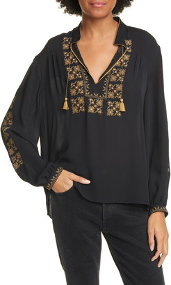 Nili Lotan Karina Embroidered Silk Blouse