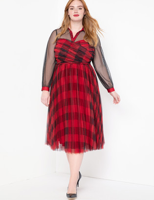 ELOQUII Plaid Two-fer Fit and Flare Dress