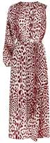 Robert Rodriguez Leopard Print Asymmetric Sleeve Silk Dress
