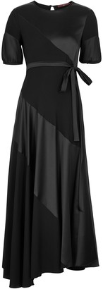 High Surpass Black Panelled Midi Dress