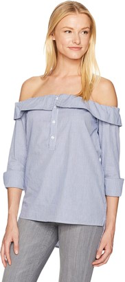 Lucca Couture Women's Charlotte Off The Shoulder Button Down Top