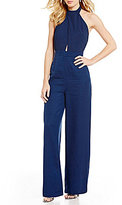 Finders Keepers Leandro Halter Neck Sleeveless Keyhole Solid Jumpsuit