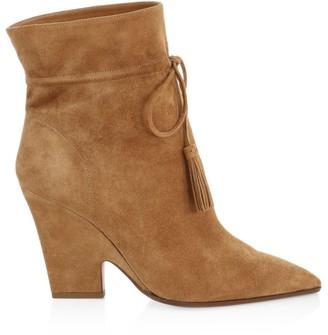 Aquazzura Sartorial Tassel-Trimmed Suede Ankle Boots