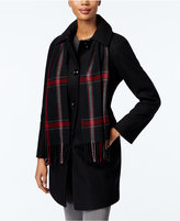 London Fog Petite Walker Coat with Scarf