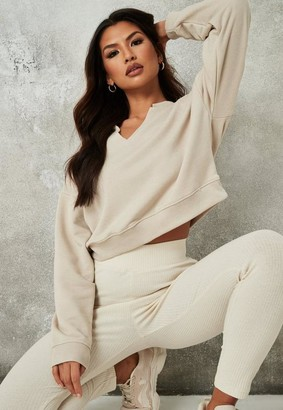 Missguided Sand Raw Edge Notched Neck Sweatshirt