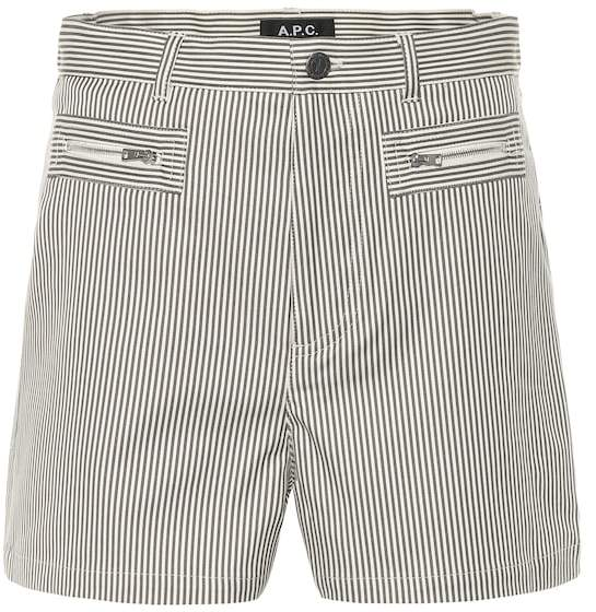 A.P.C. Angie striped stretch cotton shorts