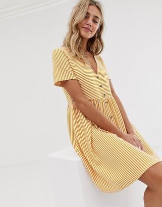Asos Design DESIGN mini v neck button through smock dress in stripe-White