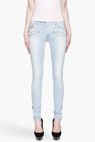 Balmain PIERRE Baby blue high-waisted zipped cuff jeans