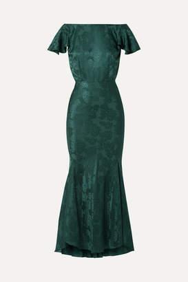 Saloni Daphne Silk-satin Jacquard Maxi Dress - Forest green