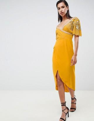 Virgos Lounge julisa embellished wrap midi dress in mustard