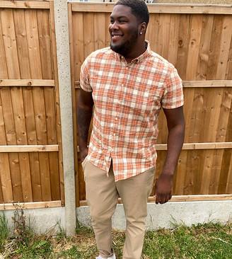 ASOS DESIGN Plus regular fit summer check shirt in orange
