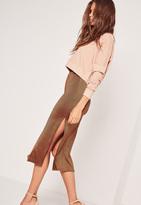 Missguided Double Split Slinky Midi Skirt Bronze