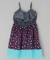 Dollhouse Light Blue & Purple Heart Denim Dress - Infant Toddler & Girls
