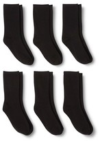 Merona Women's Casual Crew Socks 6-Pack Black One Size