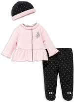 Little Me Girls' Ballet Dot Cardigan, Footie Leggings & Hat Set