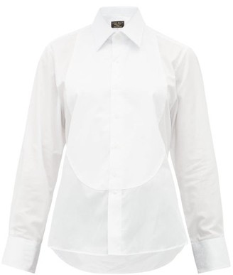 Emma Willis Floral-jacquard Bib Cotton-poplin Shirt - Womens - White