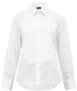 Emma Willis Floral Jacquard Bib Cotton Poplin Shirt - Womens - White