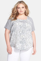 NYDJ Print Mixed Media Tee (Plus Size)