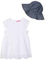 Isaac Mizrahi Eyelet Lace Dress & Chambray Sunhat 2-Piece Set (Baby Girls)