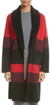 St. John Women's Double Knit Felted Wool Blend Coat With Genuine Shearling Collar