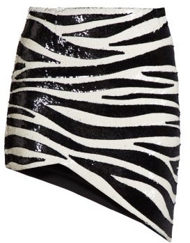 Saint Laurent Zebra Sequinned Asymmetric Mini Skirt - Womens - Black White