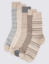 M&s Collection 5 Pairs Of Cool & Freshfeettm Assorted Socks