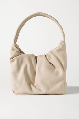 STAUD Felix Ruched Leather Shoulder Bag - Cream