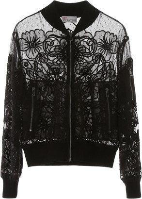 RED Valentino Tulle Bomber Jacket With Floral Embroidery