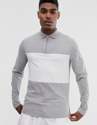 Asos Design DESIGN long sleeve polo shirt with zip neck and contrast body panel in grey