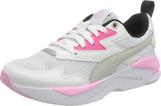 Puma Kids' X-RAY LITE JR Sneaker White-Gray Violet-Glowing Pink Black Silver 3 UK