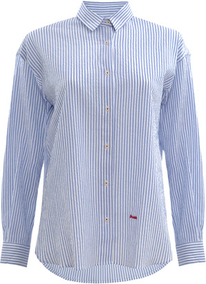 Brava Fabrics - Blue Striped Oversized Blouse Shirt - organic cotton | blue | M (38-40) - Blue/Blue